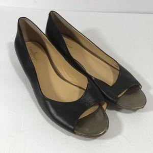 Cole Haan Nike Air black leather peep toe flats 10